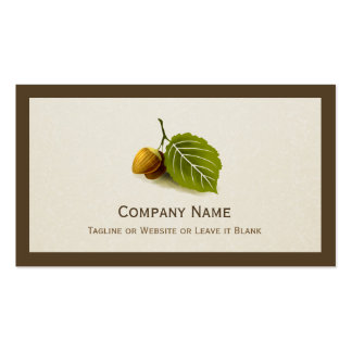 Nature Nut and Leaf - Simple Elegant Logo Pack Of Standard Business Cards