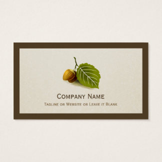 Nature Nut and Leaf - Simple Elegant Logo Business Card