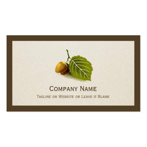 Nature Nut and Leaf - Simple Elegant Logo Business Cards