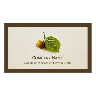 Nature Nut and Leaf - Simple Elegant Logo Pack Of Standard Business Cards