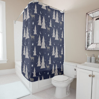 Nature Pattern Deer Trees Moon Stars Grey on Blue Shower Curtain