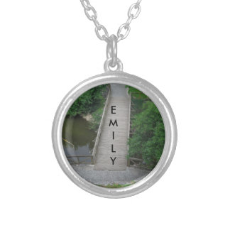 Nature Photography Park Bridge Trees Green Silver Plated Necklace