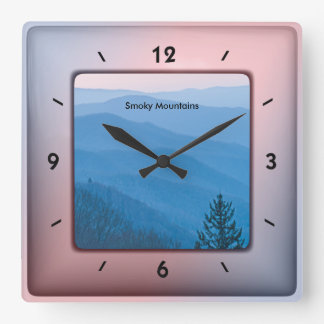 Nature Photography - Smoky Mountain Sunrise SQ Square Wall Clock
