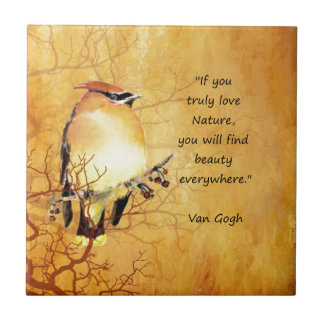 Nature Quote with Cedar Waxwing Bird Art Small Square Tile