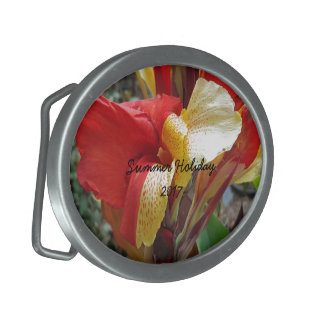 Nature Red Flower Floral Photography Belt Buckle
