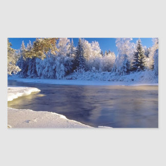 Nature River Ice Flow Rectangular Sticker