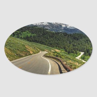Nature Road Mountian Valley Oval Sticker