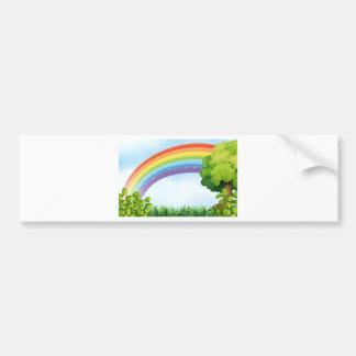 Nature scene with rainbow bumper sticker