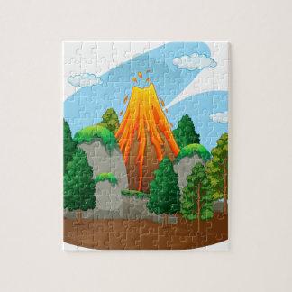 Nature scene with volcano eruption puzzles