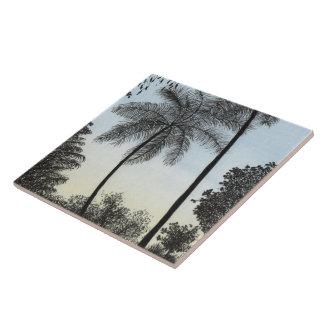 Nature silhuette large square tile