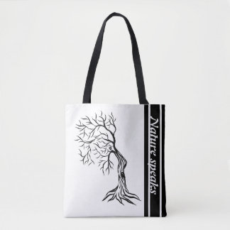 Nature speaks right faced man tree art tote bag