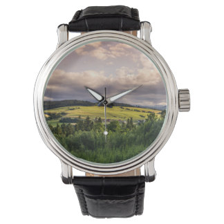 Nature Sunset Hills Landscape In Poland Wrist Watch