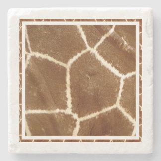 Nature Textured Photo Giraffe Animal Print Pattern Stone Beverage Coaster