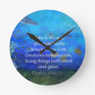 Nature themed Bible Verses about SEA Genesis 1:21 Round Clock