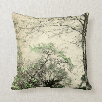Nature Tree Branch Vintage Green Cream Leaves Cushion