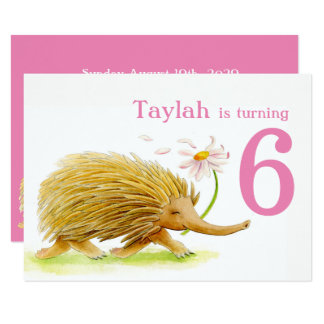 Nature walk echidna girls 6th birthday invites