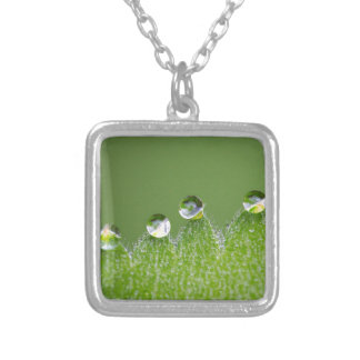 Nature Water Drops Connect with Cosmic Silver Plated Necklace