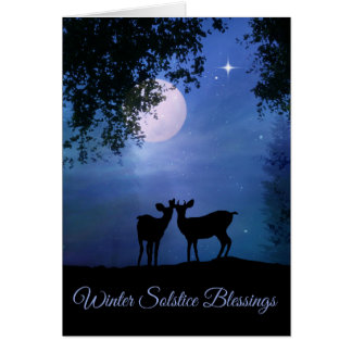 Nature Winter Solstice Blessing Cards with Moon