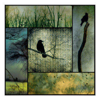 Nature With Crows Poster