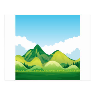 Nature with green mountain and blue sky postcard