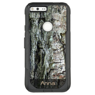 Nature Wood Old Pine Bark Photo Custom Text OtterBox Commuter Google Pixel XL Case