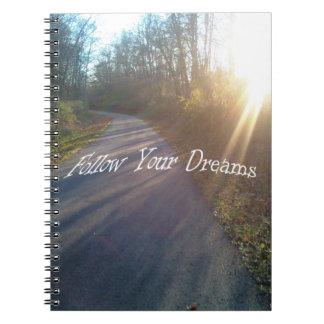 Nature Woods Path Sun Rays Grass Follow Dreams Spiral Notebook