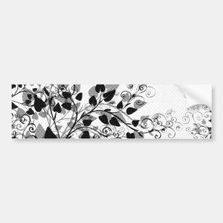 Natures Black White Floral bumper sticker