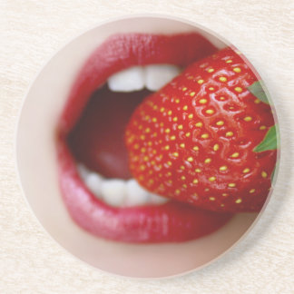 Nature's Candy - Woman Eating Strawberry Beverage Coaster