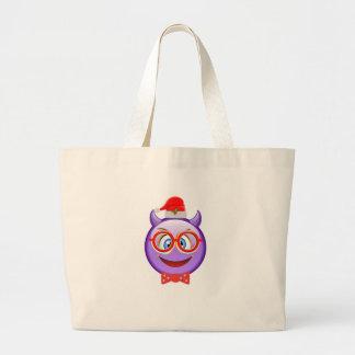 Naughty and Geeky at Christmas Emoji Large Tote Bag