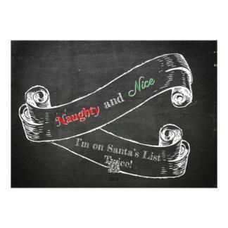 Naughty and Nice Chalkboard Christmas Card