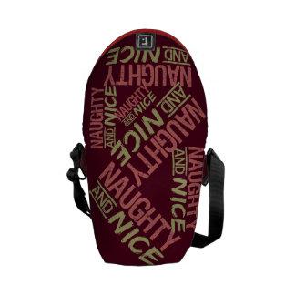 Naughty AND Nice custom messenger bag