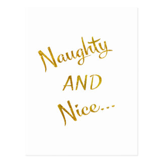 Naughty and Nice Gold Faux Foil Metallic Quote Postcard