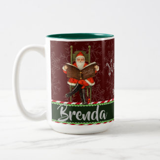 Naughty and Nice Personalized Two-Tone Coffee Mug