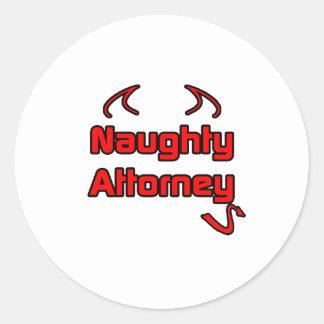 Naughty Attorney Round Sticker