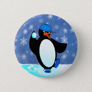 Naughty baseball penguin 6 cm round badge