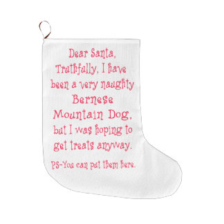 Naughty Bernese Mountain Dog Large Christmas Stocking