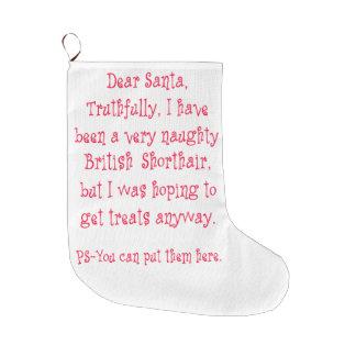 Naughty British Shorthair Large Christmas Stocking