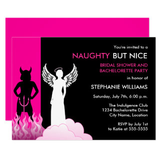 Naughty But Nice Bachelorette Party Card