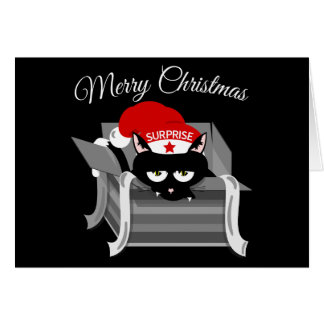 Naughty Cat Merry Christmas Card