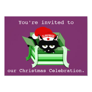 Naughty Cat Surprise Christmas Party Invitation
