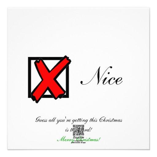 """""""Naughty"""" Christmas Flat Card"""