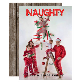 """Naughty "" Christmas One Photo Card"