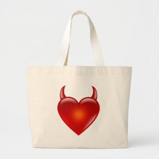 Naughty Devil Heart with Horns Large Tote Bag