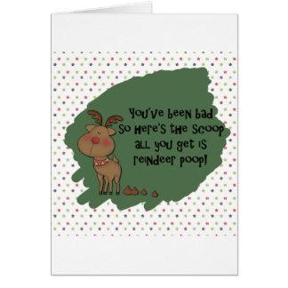Reindeer poop cards invitations for Funny reindeer christmas cards