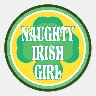 Naughty Irish Girl Round Sticker