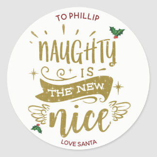 naughty is the new nice christmas sticker label