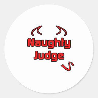 Naughty Judge Round Sticker