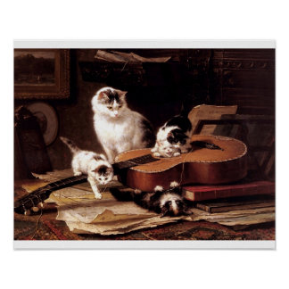 Naughty kittens playing guitar poster