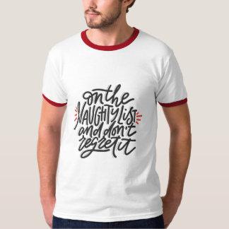 NAUGHTY LIST/ HO HO Men's Christmas Holiday Modern T-Shirt