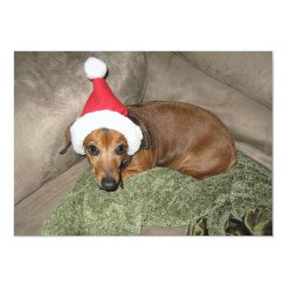 Naughty list - Reluctant Santa Dachshund 13 Cm X 18 Cm Invitation Card